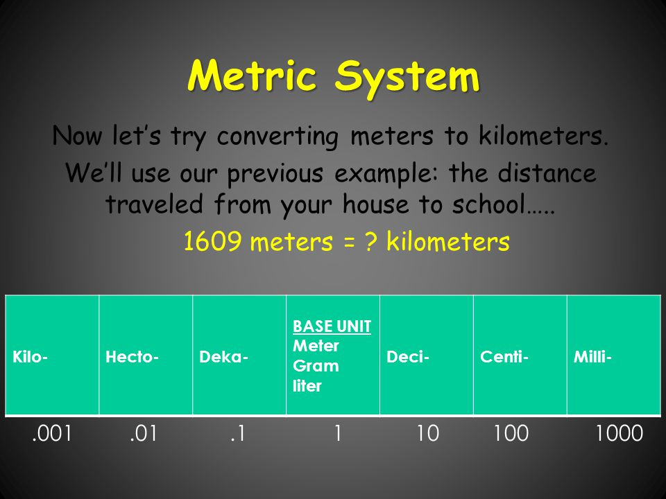 Now let's try converting meters to kilometers.