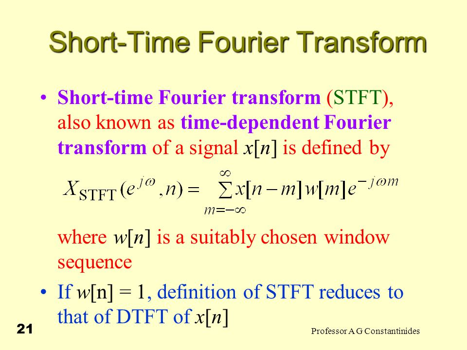 analysis/resynthesis with the short time fourier transform Amt part ii: analysis/resynthesis with the short time fourier transform 1/22  contents 1 the short time fourier transform 11 interpretation as.