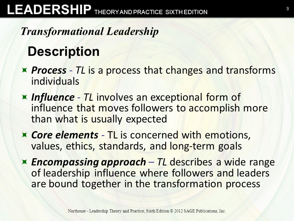 """northouse transformational leadership Which emerges is more likely to be transformational"""" (bass, p 154) according to northouse, this type of leadership """"fits the needs of today's work groups, who want to be inspired and empowered to succeed in times of uncertainty"""" (p 171)  transformational leadership focuses on what is in the best interest of the group as a whole."""