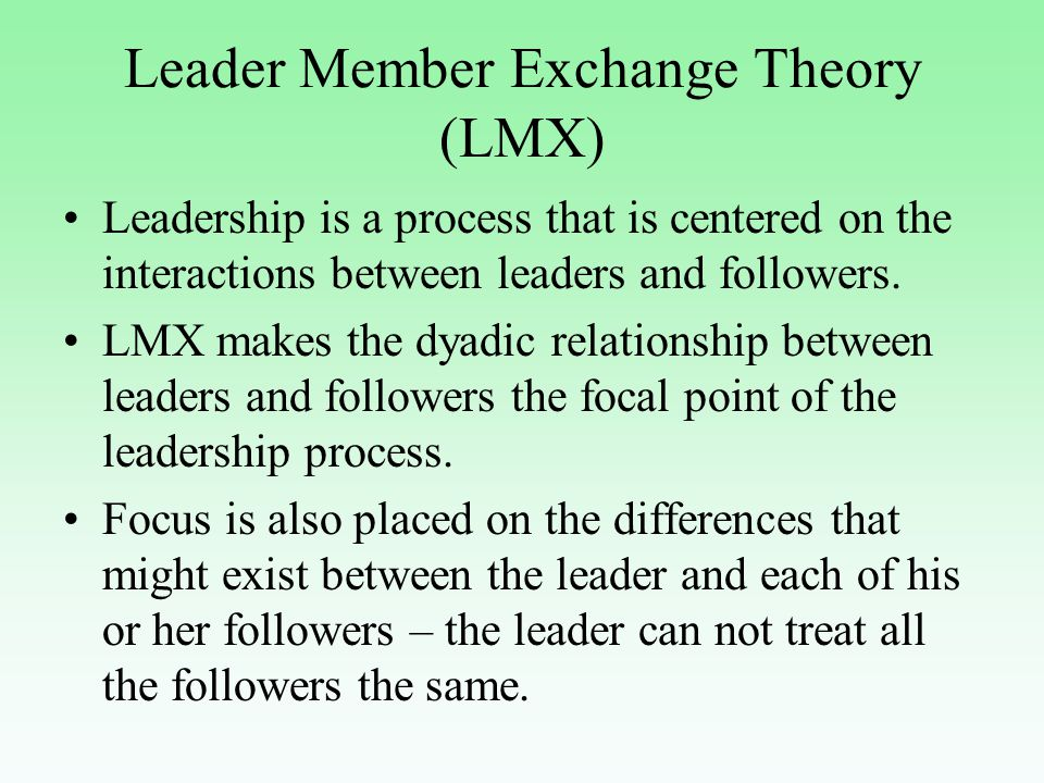 Leadership theories correlation between managers and