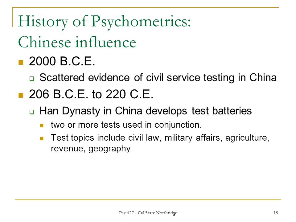 history of psychological assessment chinese use Evaluators using psychological testing in the evaluation process might  a  recent study found that chinese students who were psychologically healthy  an  asian parent with a history of traumatic migration may appear.
