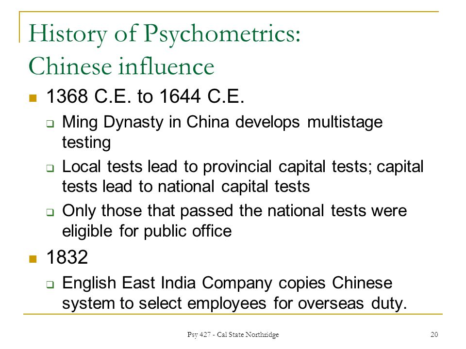 history of psychological assessment chinese use The center for epidemiologic studies depression scale (cesd) was created in 1977 by laurie radloff, 1 and revised in 2004 by william eaton and others 2 the cesd has been the workhorse of depression epidemiology since its first use in the community mental health assessment surveys in the 1970's, 3,4 and use in the national health and nutrition examination surveys 5 it has survived.