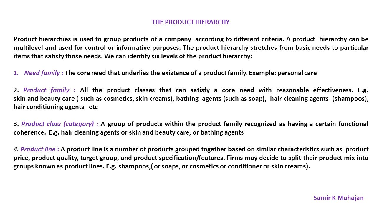 product hierarchy Keith dunn: chapter 624 defining the product hierarchy.