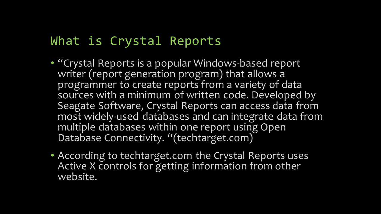crystal report writer books Buy a sap crystal reports 2016 - license - 1 named user or other report &  analysis  crosstab reports  coders can write their own custom sql statement .