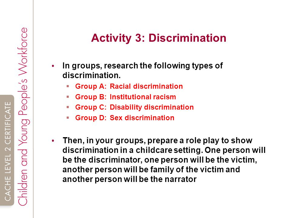shc 23 explain how promoting equality and inclusion reduces the likelihood of discrimination Affirmative action is intended to promote the opportunities of defined minority groups within a society in some countries that have laws on racial equality, affirmative action is rendered illegal because it many believe that affirmative action is discrimination in reverse with.