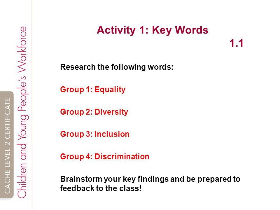 introduction to equality and inclusion in Unit 4222-203 introduction to equality and inclusion in health, social care or children's and young people's settings (shc 23) assessment criteria.