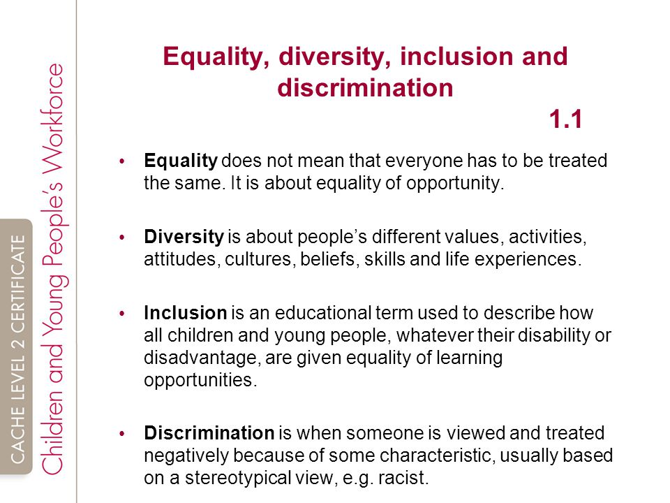 Equality diversity and inclusion in work with children 2 essay