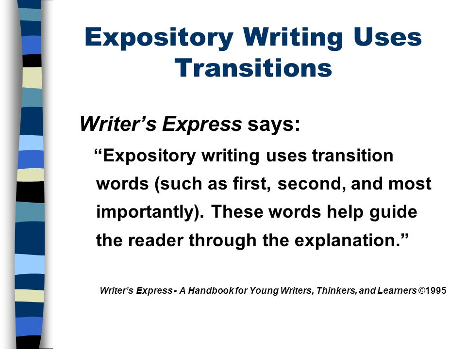 Expository Writing Uses Transitions