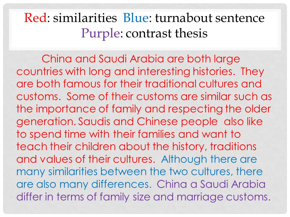 Comparison and contrast between chinese and