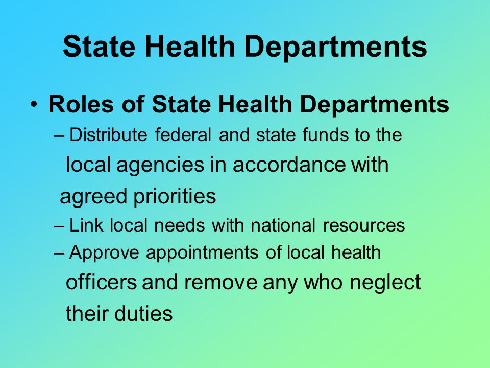 role of federal agencies State role i - primary and secondary education nccic directory of state head start offices provides links to the state agencies that implement head start, a federal program providing educational.