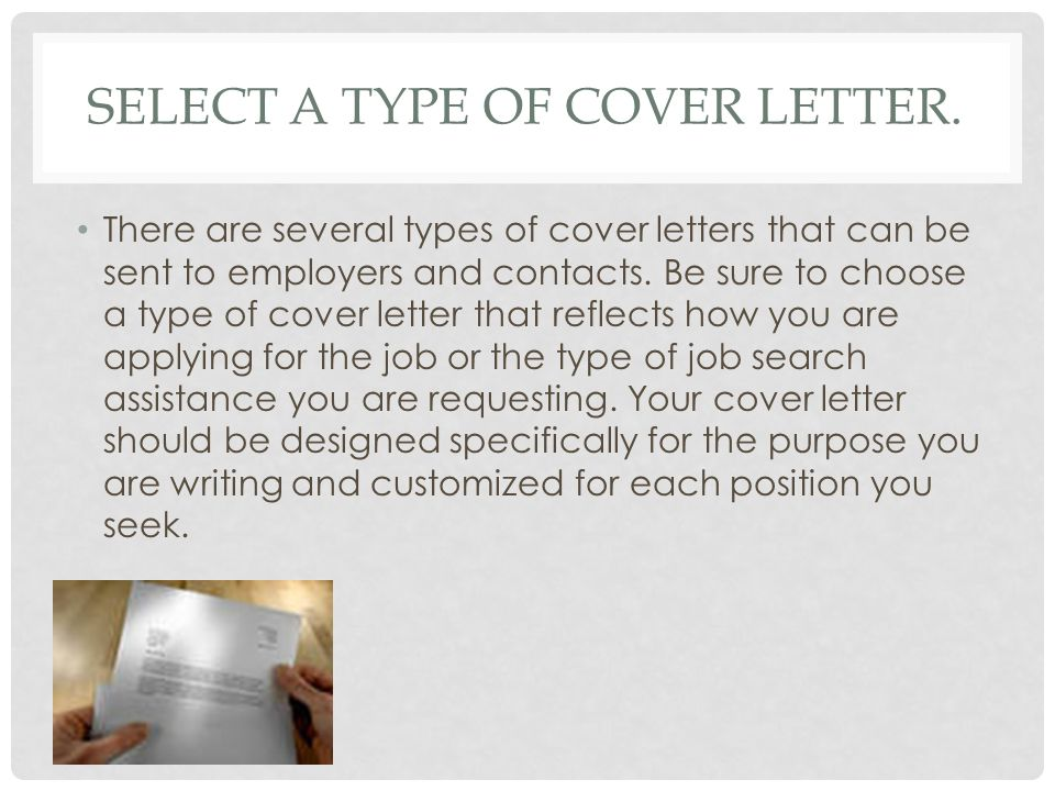 Select a type of cover letter.