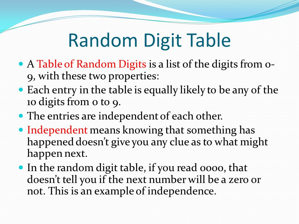 lecture illustration random digits table Home » lesson 8: part 2 of cluster and systematic sampling  use the data  given in the following table to estimate the average number of persons per car  and  how do we obtain the random numbers for the repeated systematic  sampling.