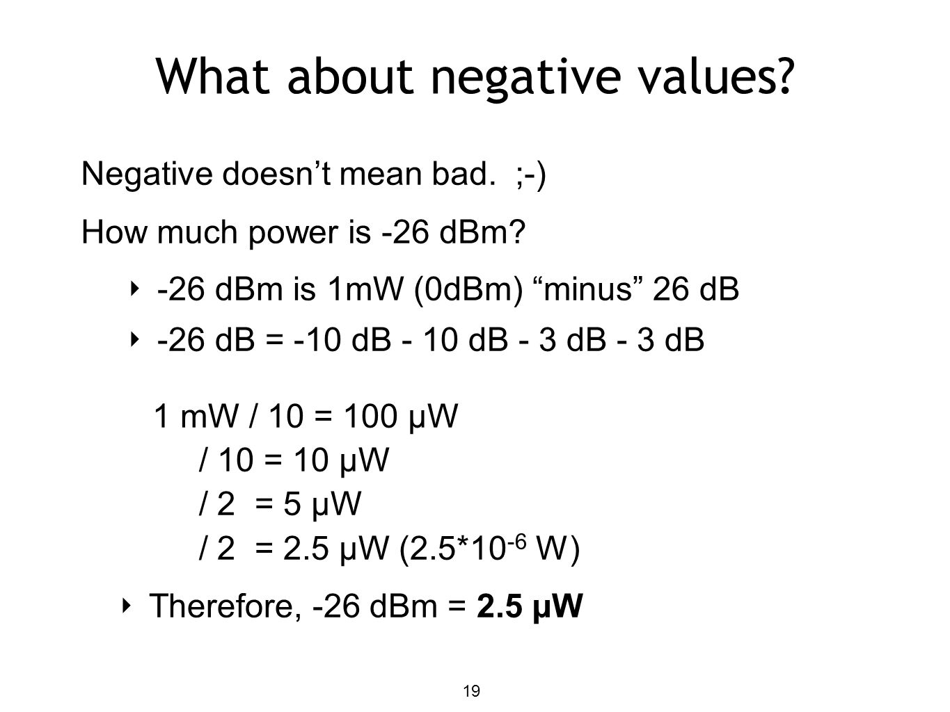 What about negative values