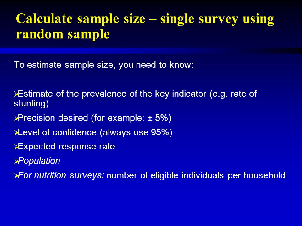 Sample size calculation and development of sampling plan - ppt ...