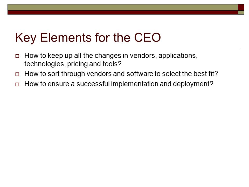 Key Elements for the CEO