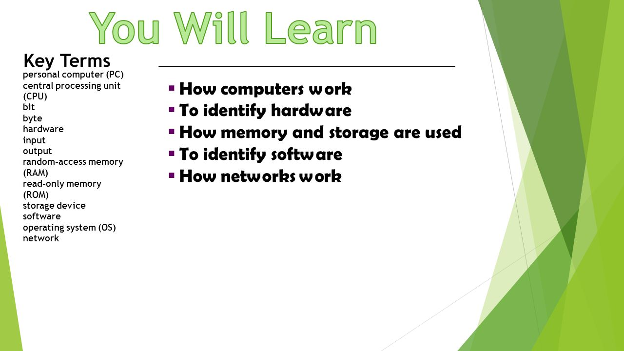 You Will Learn Key Terms How computers work To identify hardware