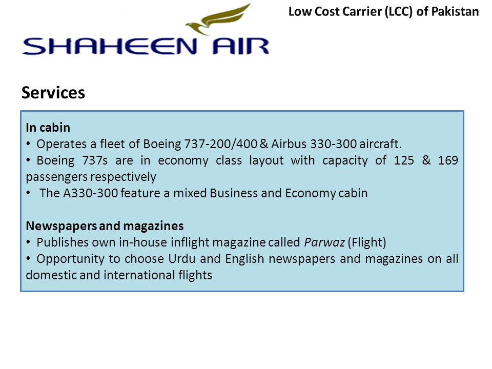 Services Low Cost Carrier (LCC) of Pakistan In cabin