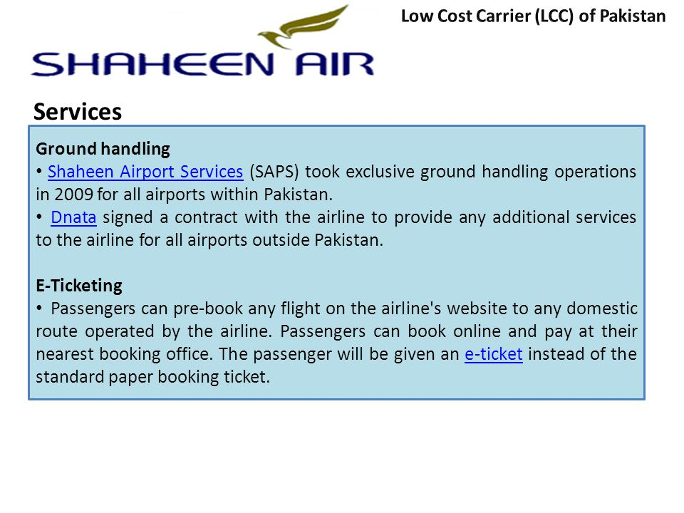 Services Low Cost Carrier (LCC) of Pakistan Ground handling