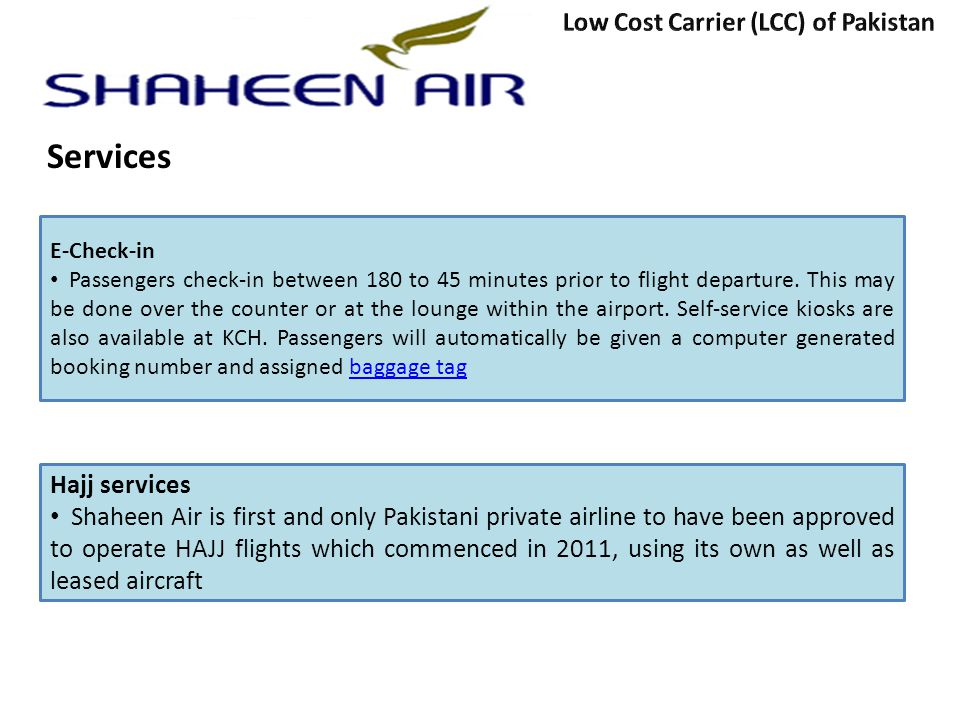 Services Low Cost Carrier (LCC) of Pakistan Hajj services