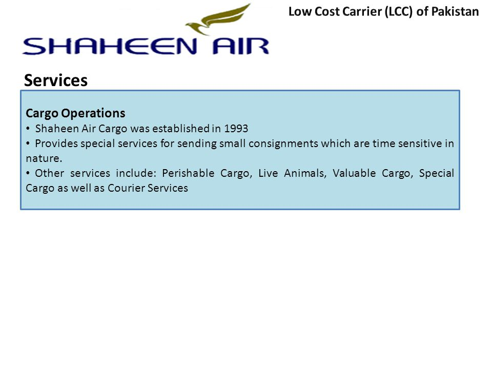 Services Low Cost Carrier (LCC) of Pakistan Cargo Operations