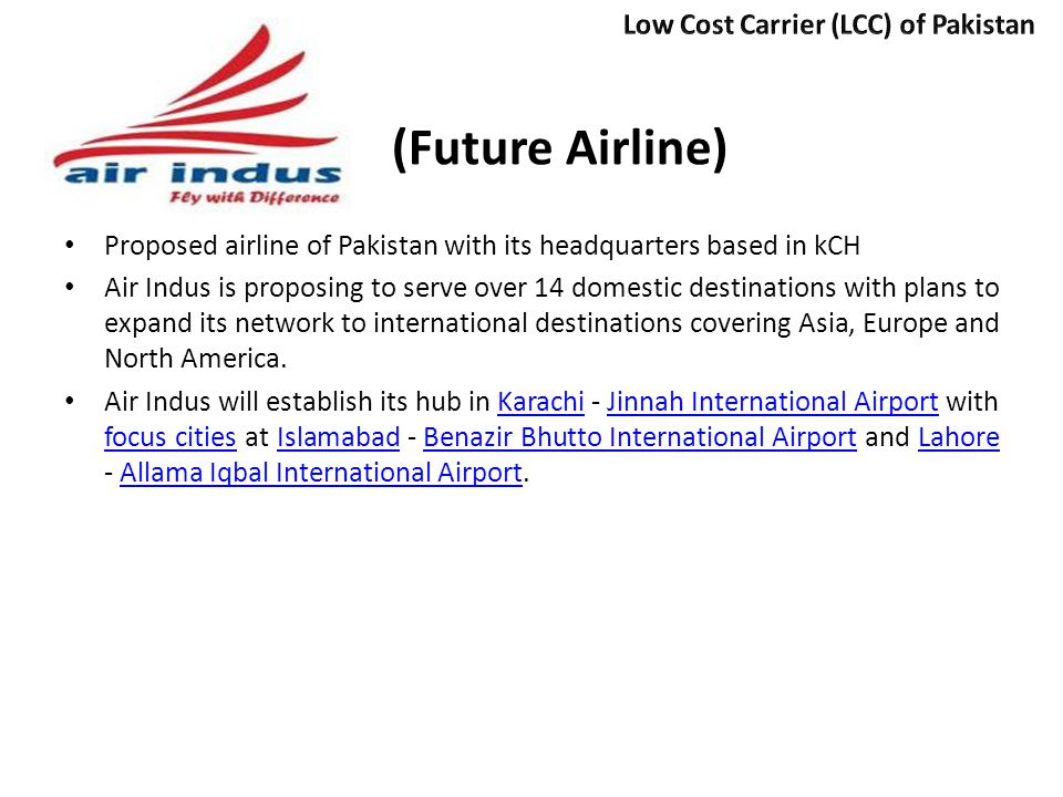 (Future Airline) Low Cost Carrier (LCC) of Pakistan