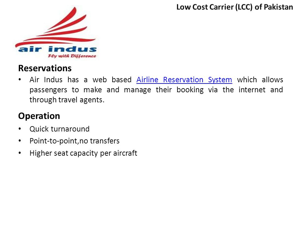 Reservations Operation Low Cost Carrier (LCC) of Pakistan