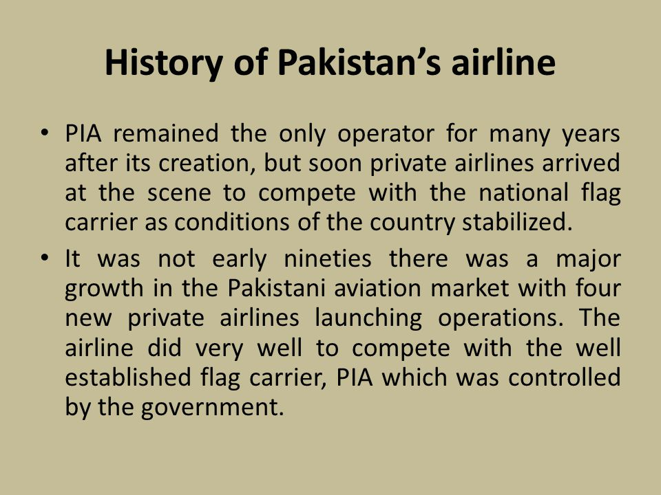 History of Pakistan's airline