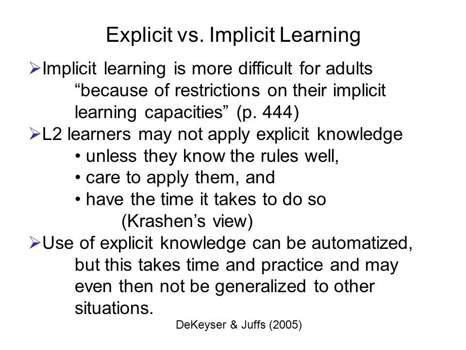 the definition of implicit and explicit knowledge and their roles in l2 grammar instruction Although explicit and implicit knowledge of language learners are essential to  and see no role for l2 instruction beyond the provision of a conducive environment.