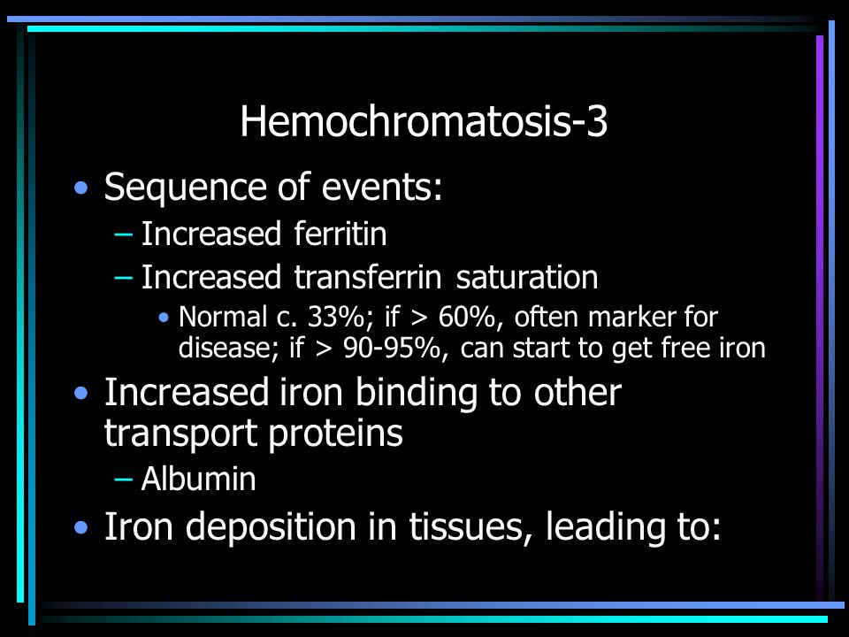 Hemochromatosis-3 Sequence of events:
