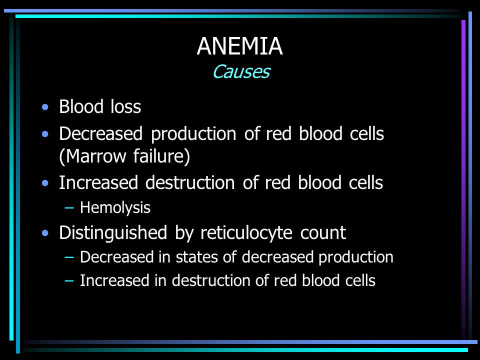 ANEMIA Causes Blood loss