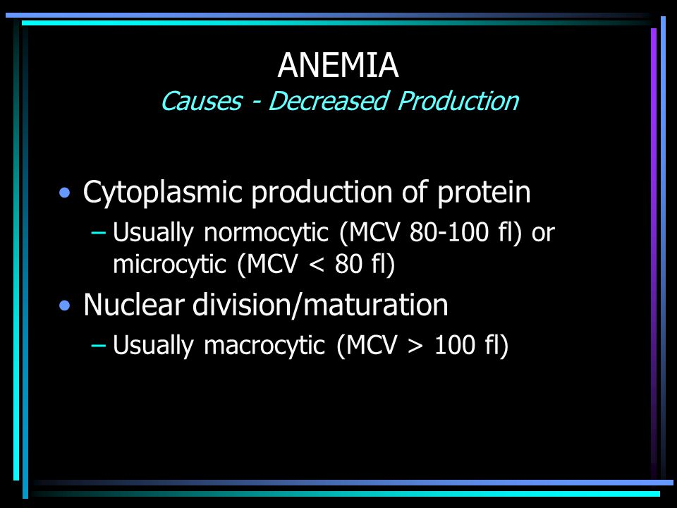 ANEMIA Causes - Decreased Production