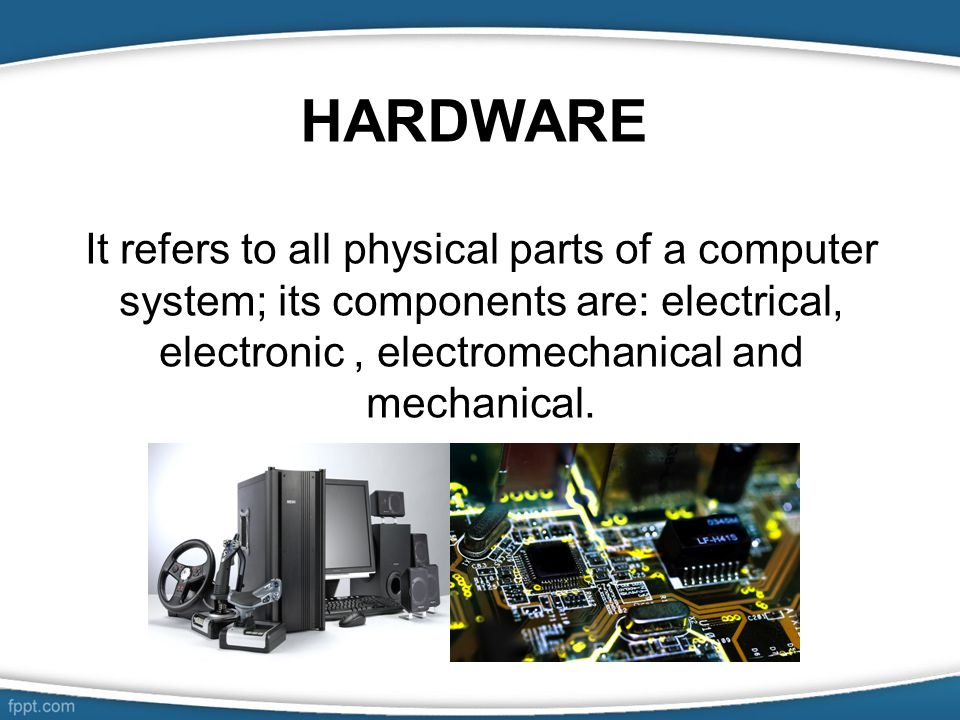 computer hardware Introduction at heart, all computers have a common structure these components can be very different in terms of expense, speed and quality, but evey computer has them to one degree or another.