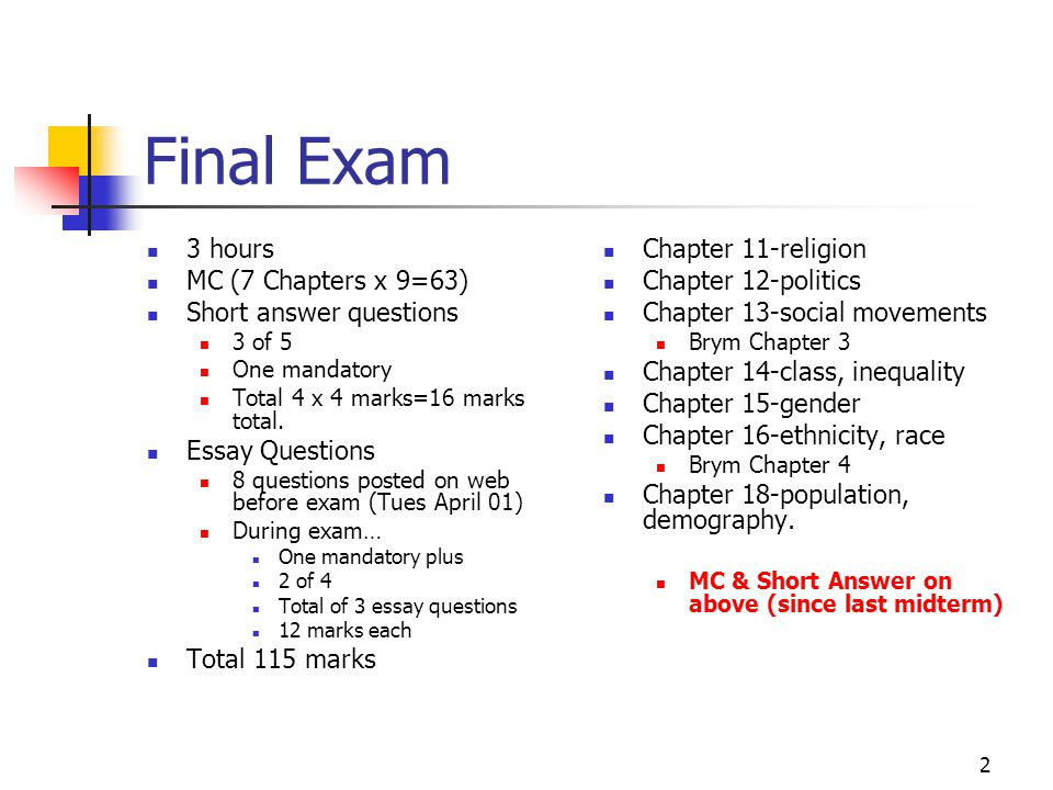 chapter 16 short answer essay questions Overheads for unit 7--chapter 10 (essay questions) as specific as a short-answer question) there is no single correct or best answer to an essay question.