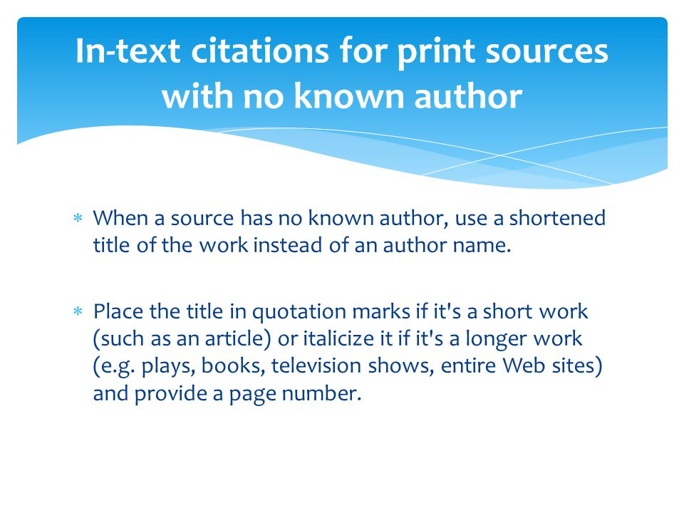 mla format for citing sources