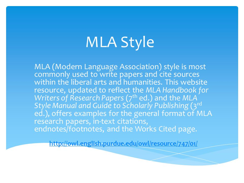 citing a research paper mla This page is brought to you by the owl at purdue (https://owl you use the research you have learn how to use the modern language association.