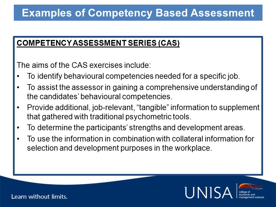 What is competency based assessment?