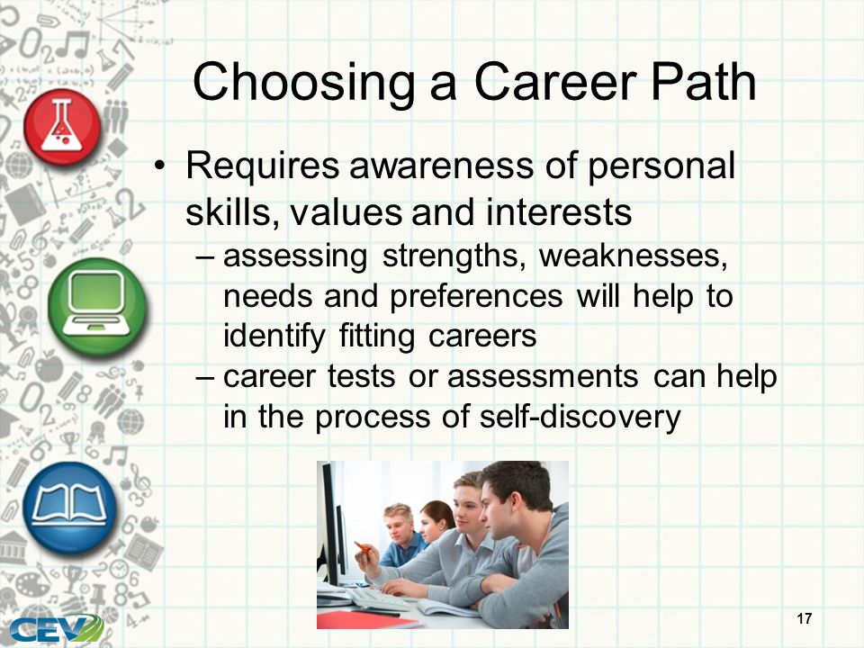 Choosing A Career Path Requires Awareness Of Personal Skills, Values And  Interests.  Career Tests