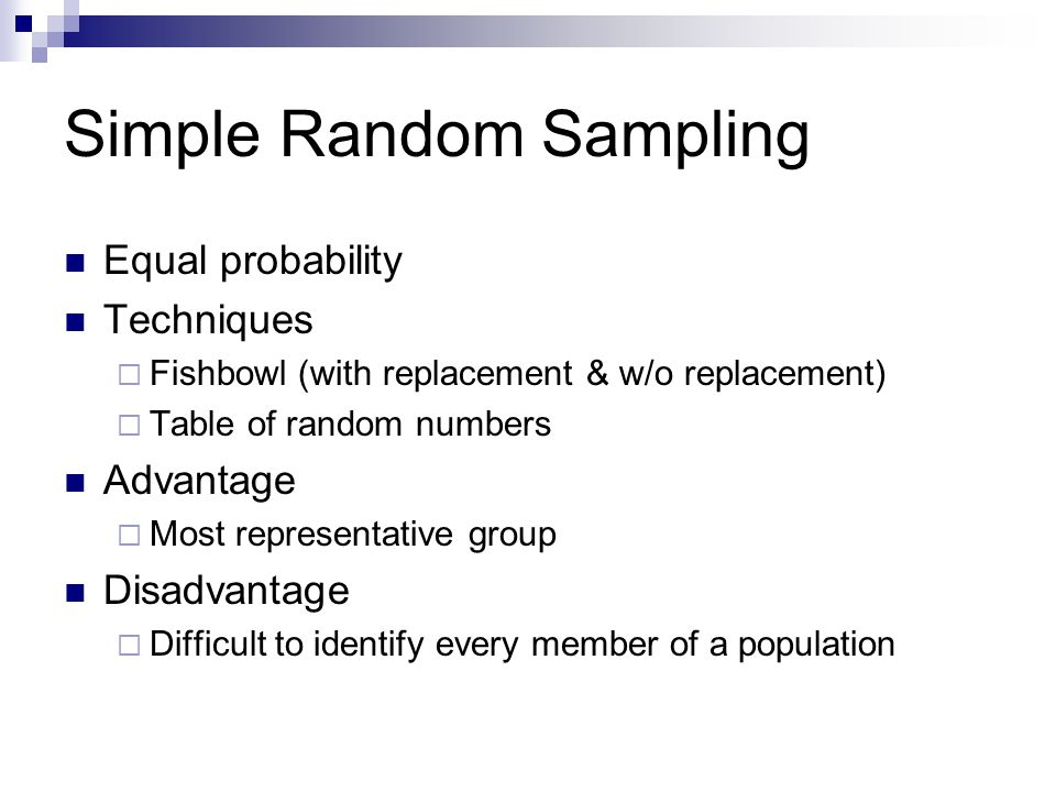 simple random sampling in research Simple random sampling simple random sampling can be carried out in two ways – the lottery method and using random numbers.