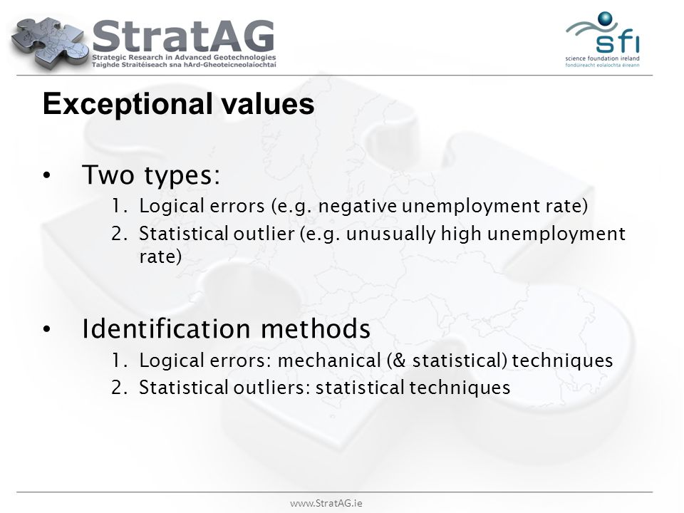 Exceptional values Two types: Identification methods