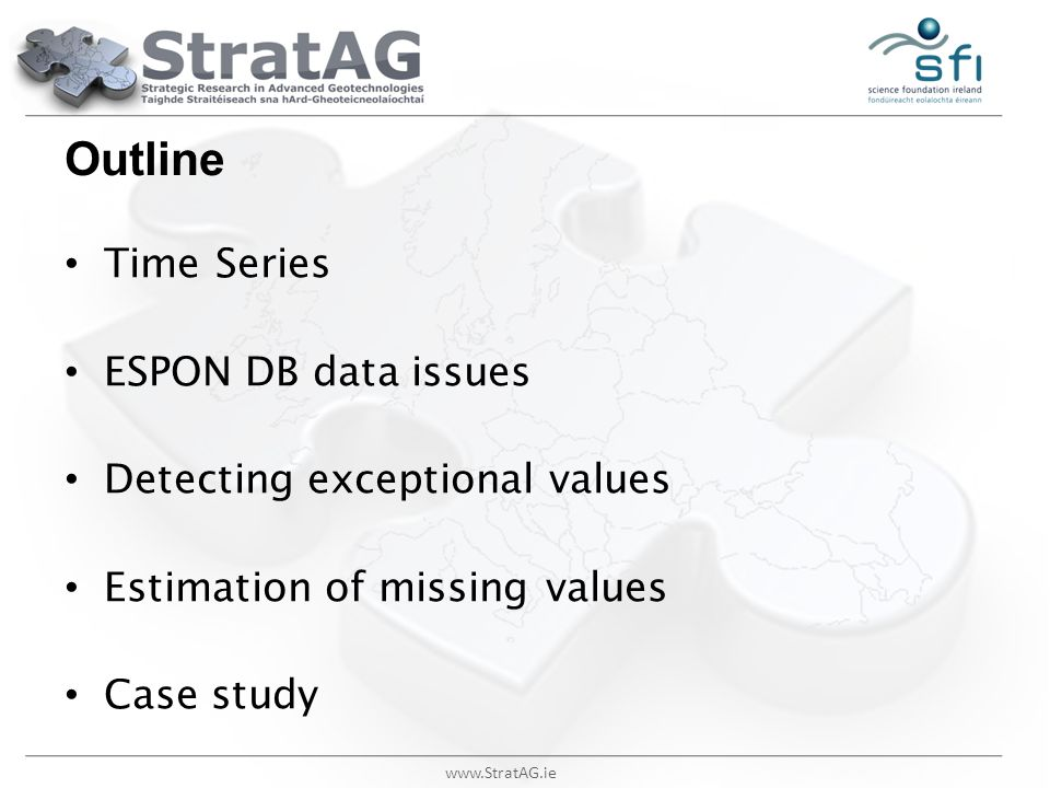 Outline Time Series ESPON DB data issues Detecting exceptional values