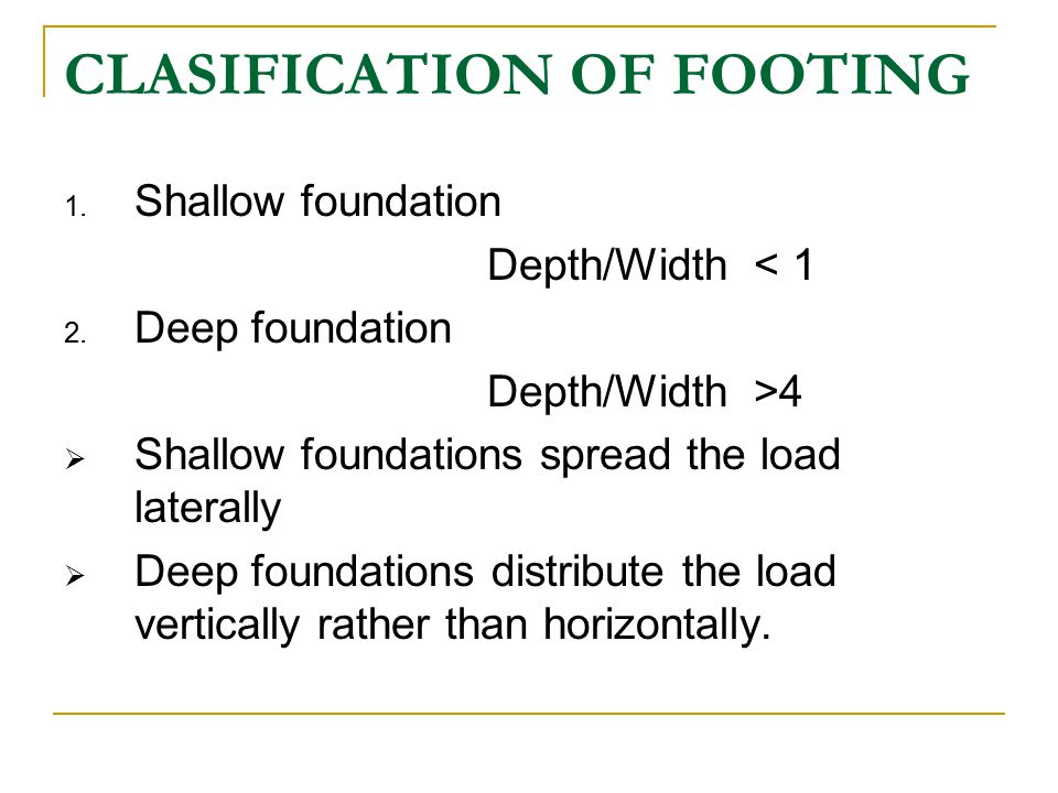 CLASIFICATION OF FOOTING