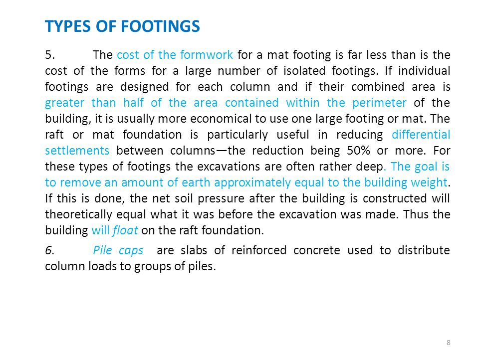 Footings introduction ppt download for Types of foundation and their uses