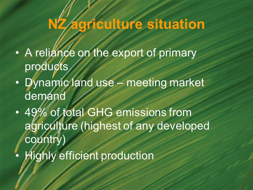 NZ agriculture situation