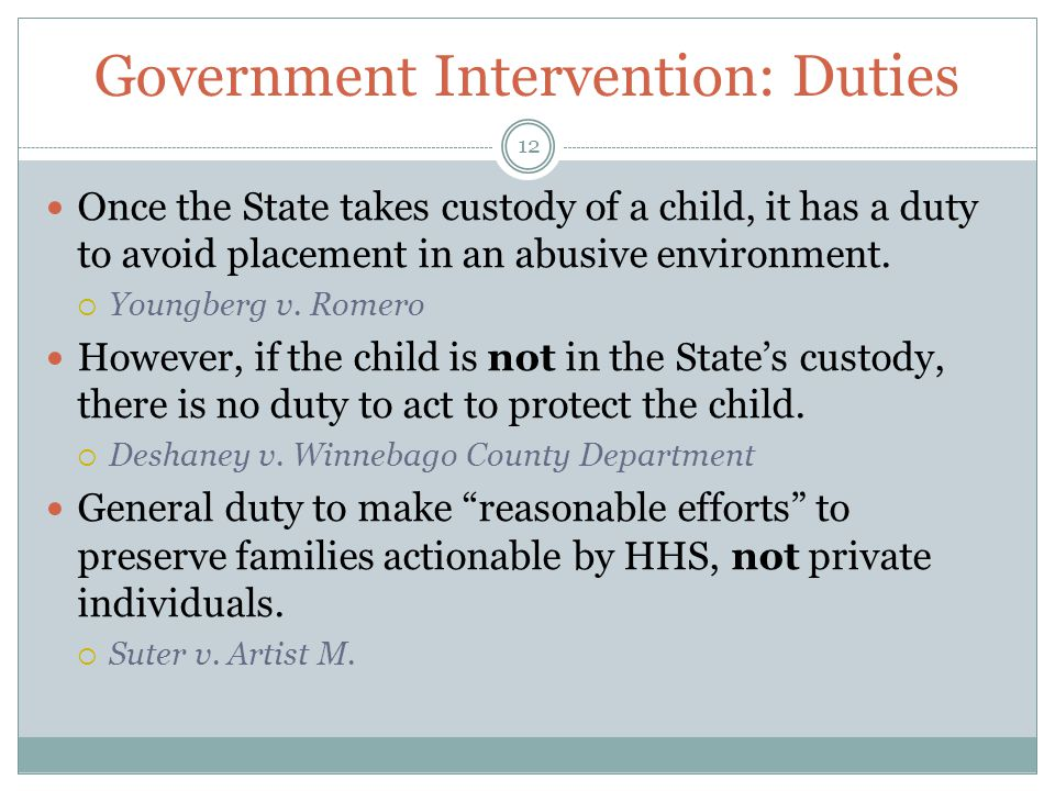 Government Intervention: Duties