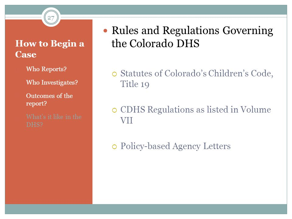 Rules and Regulations Governing the Colorado DHS