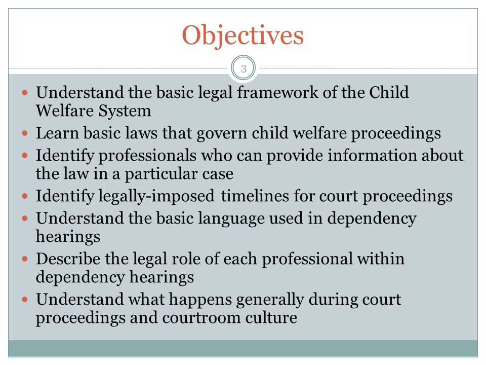 Objectives Understand the basic legal framework of the Child Welfare System. Learn basic laws that govern child welfare proceedings.