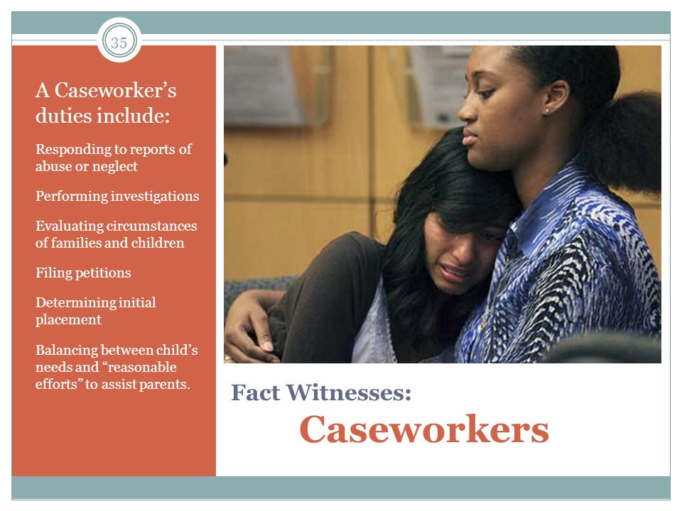 Fact Witnesses: Caseworkers