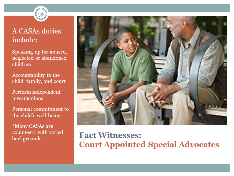 Fact Witnesses: Court Appointed Special Advocates