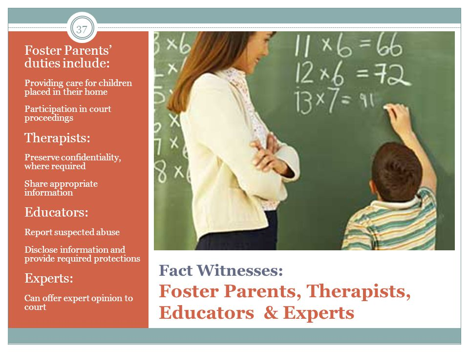Fact Witnesses: Foster Parents, Therapists, Educators & Experts