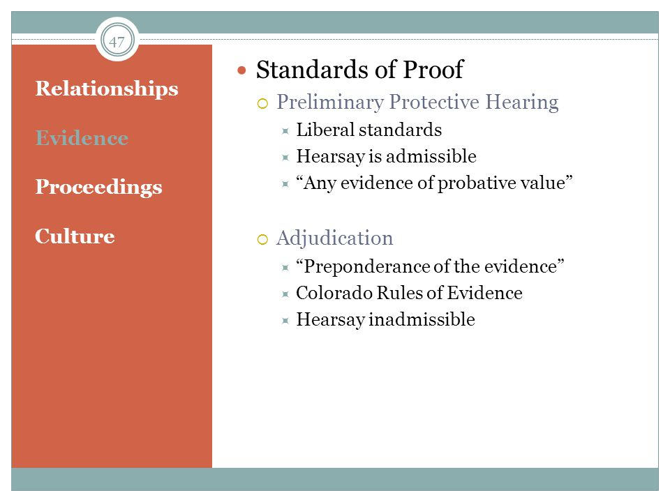 Standards of Proof Preliminary Protective Hearing